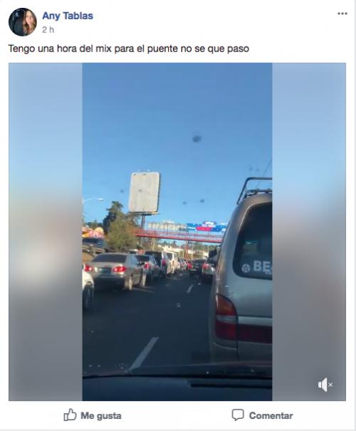 En Facebook los comentarios eran con respecto al tráfico.