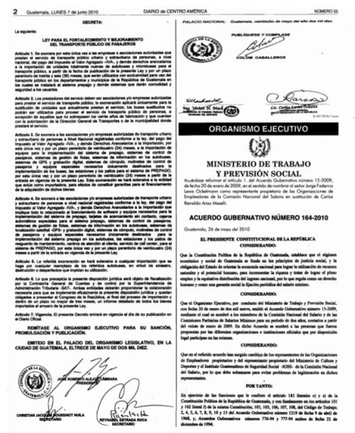 Con el Decreto 21-2010 se exoneró de impuestos la compra de autobuses. (Foto: Captura de pantalla)