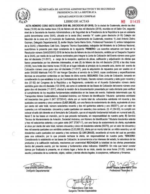 En esta acta, la Junta de Cotización de la SAAS rechazó las dos ofertas presentadas para proveer los repuestos para el avión presidencial. (Foto: SAAS)