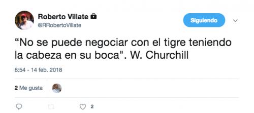 Este es el último tuiter de Villate, antes de que se conociera que le retiraron el derecho de antejuicio. (Foto: Captura de pantalla)