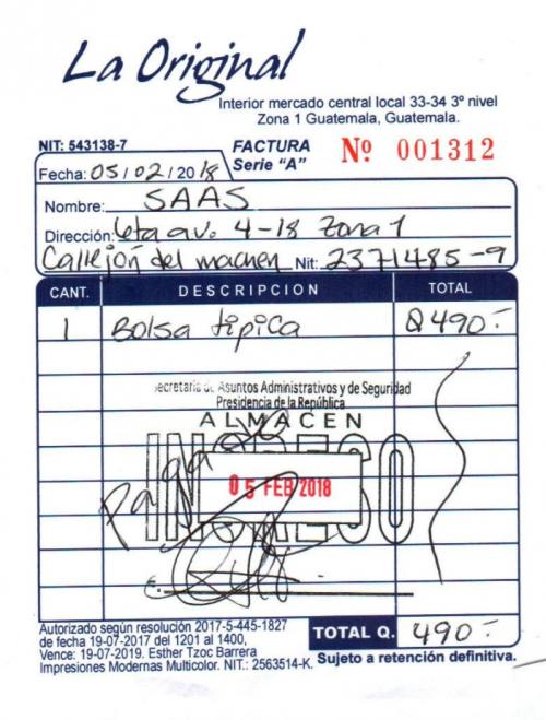 Esta es la factura por la compra de la bolsa típica adquirida por la SAAS. (Foto: captura de pantalla)