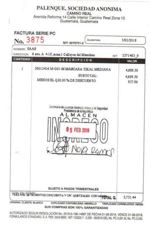 Esta es la factura de la máscara de jade que le regaló el presidente Jimmy Morales a su homólogo Donald Trump. (Foto: captura de pantalla)