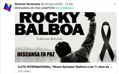 Cientos de publicaciones en las redes sociales daban por muerto a Sylvester Stallone. (Imagen: Twitter/@noticiasvzla360)