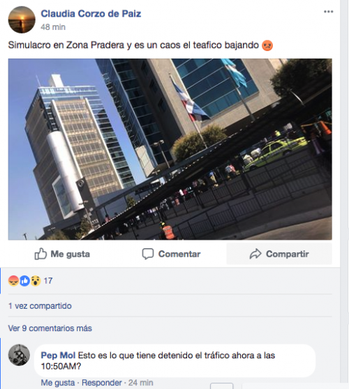 Usuarios en Facebook denunciaron problemas en el tráfico. (Foto: captura de pantalla)