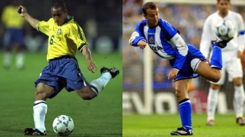 """A la izquierda, Roberto Carlos, con la lengüeta de las Umbro Speciali que casi llegaba a la punta del pie. A la derecha, """"Fran"""". (Foto: Marca)"""