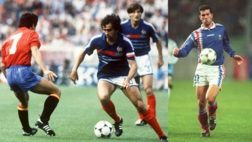 A la izquierda, de azul, Platini intenta realiza un regate en la final de la Eurocopa 84. (Foto: Marca)