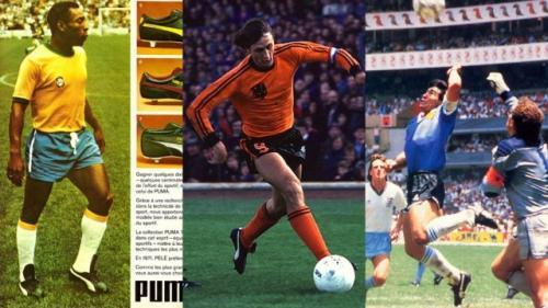 Pelé, Cruyff y Maradona, en los mundiales de México 70, Alemania 74 y México 86, respectivamente. (Foto: Marca)