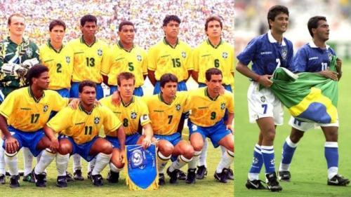 Nike calzó a los brasileños en la final de Estados Unidos 94. A la derecha, en el mismo torneo, Bebeto y Romario con zapatos de dicha marca. (Foto: Marca)