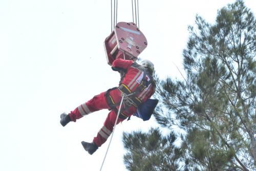 Así subieron al rescatista a lo alto del árbol. (Foto: Jesús Alfonso/Soy502)