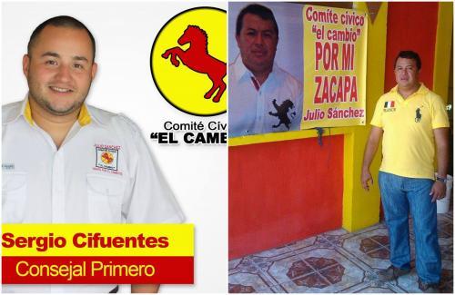 Sergio Fernando Cifuentes Sagastume y Julio Alberto Enríquez Sánchez integraron el mismo comité cívico que los llevó al poder municipal. (Foto: capturas de pantalla)