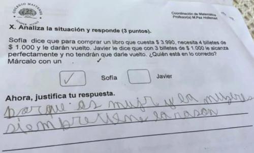 La genial respuesta de un nene en un problema matemático