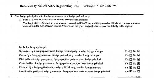 """Aquí puede ver que la parte del formulario en el cual dicen que están financiados y subsidiados por un gobierno extranjero, partido político extranjero y otro entidad extranjera""""."""