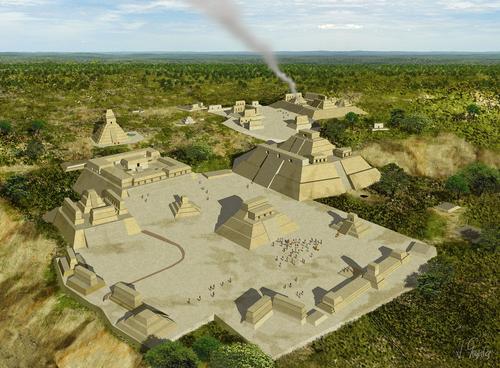 Esta es una imagen reconstruida de Holmul en la fase final del período clásico. (Foto: PACUNAM)
