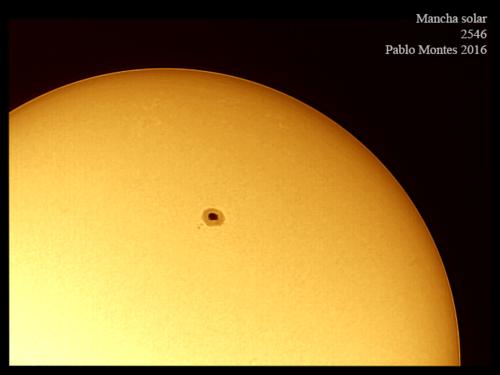 Manchas captadas en el Sol. (Foto: Pablo Montes/cortesía Edgar Castro Bathen)
