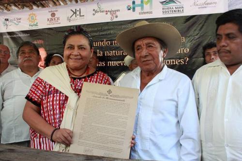 La ceremonia se llevó a cabo en la comunidad San Juan de Dios, en el municipio de Tulum, Quintana Roo. Foto: Sipse