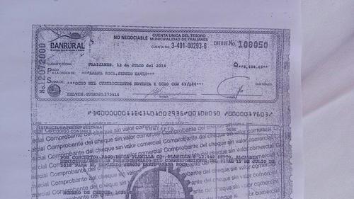 Cheque pagado a una persona que se denuncia es una plaza fantasma en la municipalidad de Fraijanes.