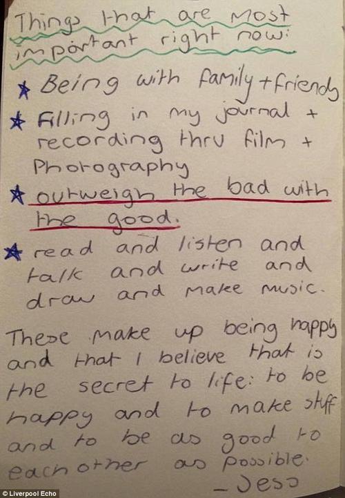 Listado escrito por Jess antes de morir, donde revela las cosas importantes para ser feliz en la vida. (Foto: Daily Mail)