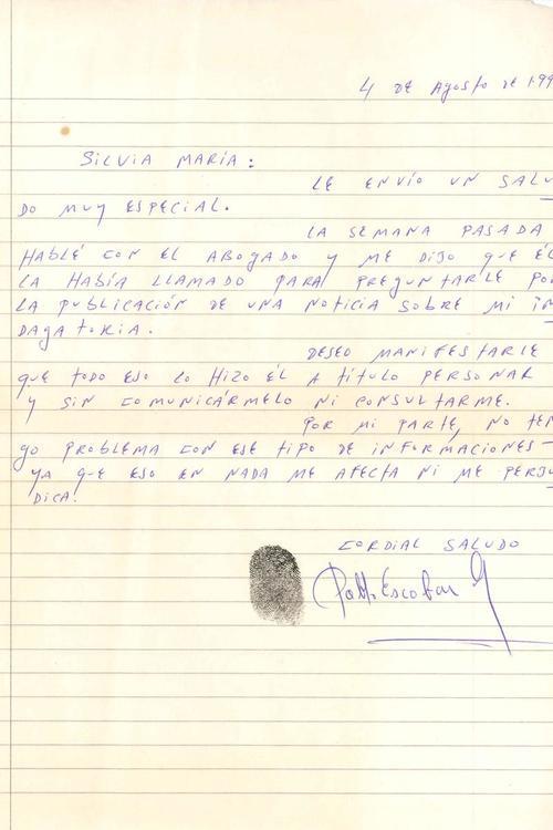 Una de las cartas que envió Pablo Escobar a la periodistas Silvia Hoyos en la década de los 90. (Foto: Revista Semana)