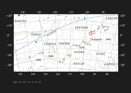 Fotografía facilitada por el Observatorio Europeo Austral (ESO) del mapa donde se puede ver la gigantesca y brillante constelación de la Hidra (la serpiente marina). (FOTO: EFE)