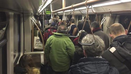 Pasajeros que evacúan un vagón de metro entre las estaciones de metro Arts-Lois y Malbeek en Bruselas. (Foto: EFE)