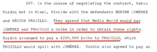 En el informe del Departamento de Justicia de EE.UU. se detalla que Trujillo y Jiménez negociaron el pago de US$200 mil como soborno.