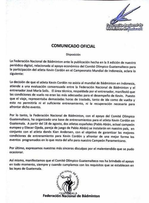 Comunicado oficial de la Federación Nacional de Bádminton de este miércoles 5 de agosto.