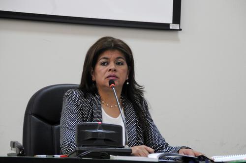 Carol Patricia Flores, Jueza A de Mayor Riesgo, trasladó la audiencia a la sede del Ministerio Público pues el audio de la videoconferencia no funcionó. (Foto: Esteban Biba/Soy502)