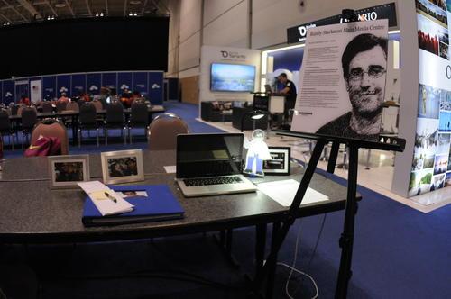 Randy Starkman tiene su espacio simbólico en la sala de prensa. Falleció en 2012, peor era uno de los periodistas más activos cubriendo todos los deportes. (Foto: Pedro Pablo Mijangos/Soy502)