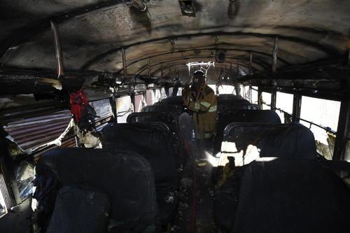 El bus quedó totalmente quemado. (Foto: Nuestro Diario)