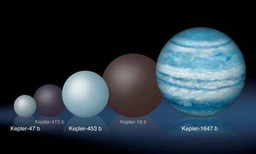 La comparación de los tamaños relativos de varios planetas alrededor de Kepler. Kepler-1647. (Foto: Lynette Cook/NASA)