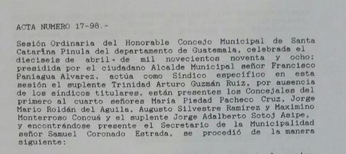 La lotificación fue autorizada en la gestión de Francisco Paniagua Álvarez como alcalde de Santa Catarina Pinula.