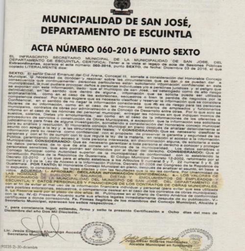 El acta se publicó en el Diario Oficial el 30 de diciembre de 2016.