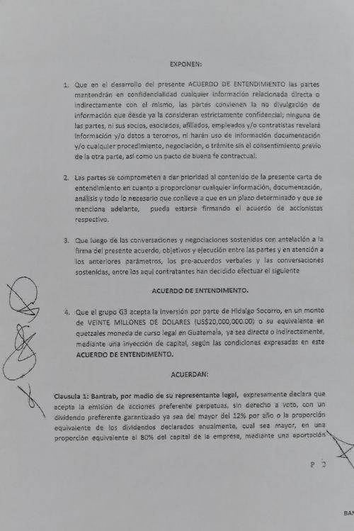 """Este es el """"Acuerdo de Entendimiento"""" firmado por tres ejecutivos de Bantrab y un venezolano."""