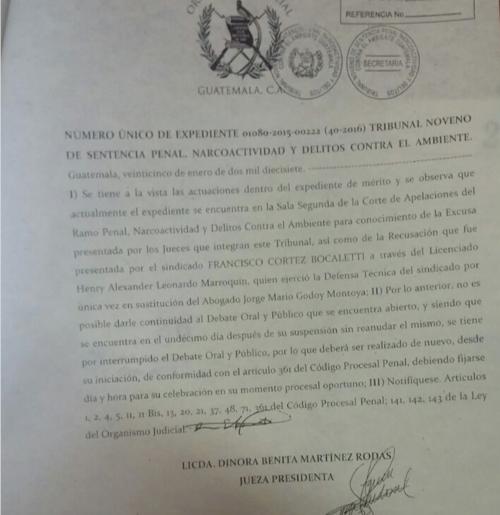 Esta es la resolución donde el Tribuna Noveno notifica que el juicio IGSS-Pisa queda anulado.
