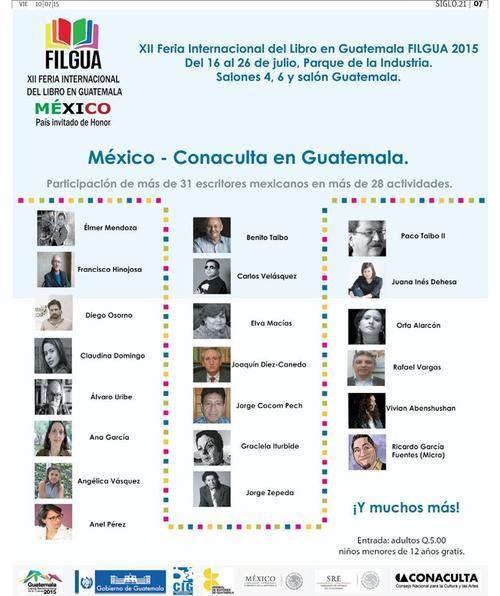 Escritores mexicanos que participan en FILGUA. (Foto: Filgua oficial)