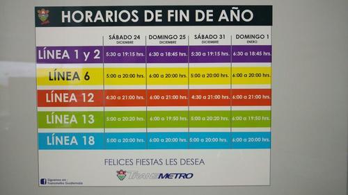 Consulta el horario del 31 de diciembre y 1 de enero en las últimas dos columnas del anuncio. (Foto: Municipalidad de Guatemala)