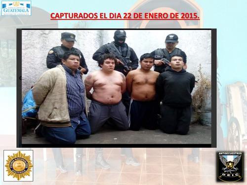 """Cuatro supuestos integrantes de la banda """"Los Infieles"""" fueron detenidos en enero de 2015. (Foto: PNC)"""