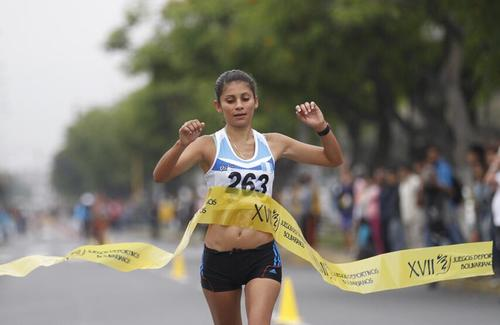 La marchista nacional Mirna Ortíz es una de las cartas fuertes para el Sudamericano de marcha atlética en Cochabamba, Bolivia 2014. (COG)