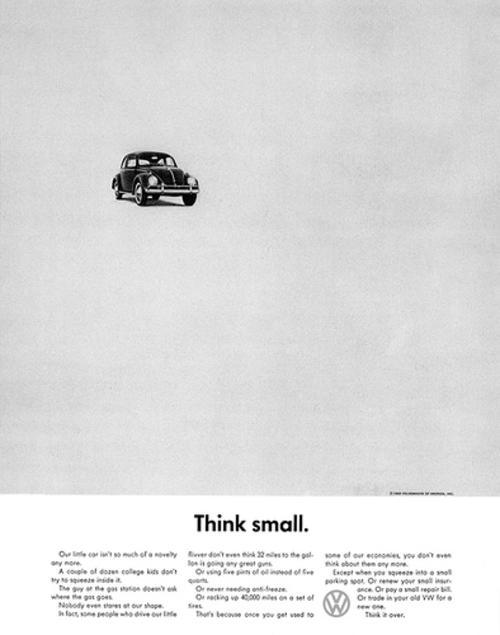 La campaña Think Small para Volkswagen, ha sido una de las más exitosas y efectivas en la historia de la publicidad. (Foto: Google)
