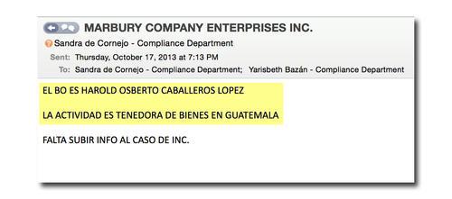 En el correo electrónico se demuestra que el beneficiario de Marbury Company es Harold Caballeros. (Foto: Univisión)
