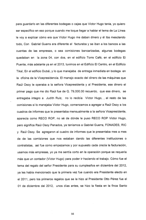 Vista de la página 56 de 216 donde se documenta la declaración de Juan Carlos Monzón ante la fiscalía.