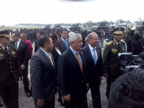 """""""Esta es una muestra de confianza del gobierno de Estados Unidos a nuestro país"""" dijo el presidente Otto Pérez en el acto."""