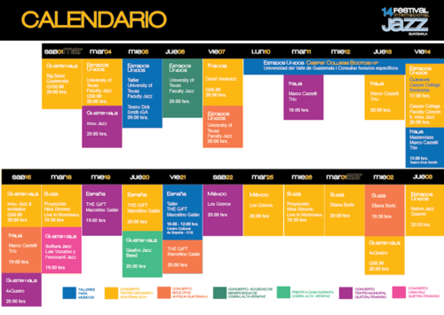 Este es el calendario de actividades de la 14 edición del Festival de Jazz Guatemala. (Foto: facebook/Guatemala Jazz Festival)