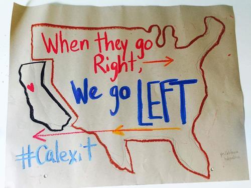 Un afiche hecho a mano del Calexit. (Foto: Twitter)