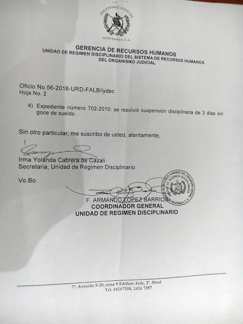 En el año 2010, Paulina Molina también fue sancionada, pero por tres días.