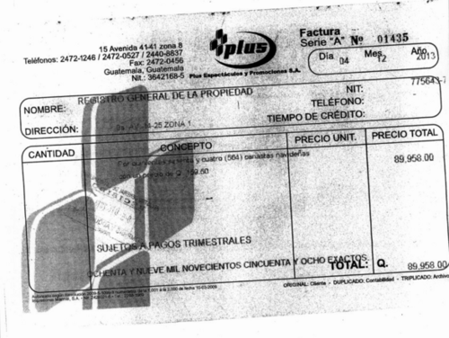 La empresa Plus Espectáculos y Promociones, S.A. también le vendió canastas navideñas al Registro de la Propiedad. (Foto: captura de pantalla/Guatecompras)