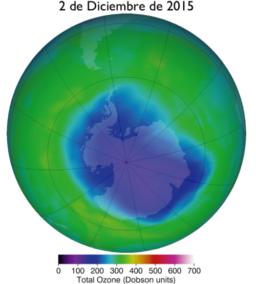 Datos satelitales de la columna total de Ozono (mapeados por la NASA). El color azul indica la zona afectada por el agujero de ozono al 2 de diciembre del 2015. (Foto: INACH)