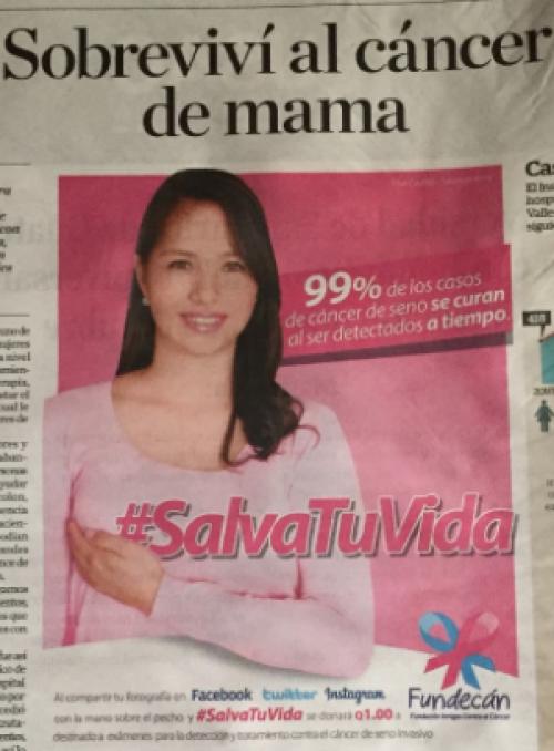 Pilar fue imagen de la campaña de Fundecán. (Foto: archivo)
