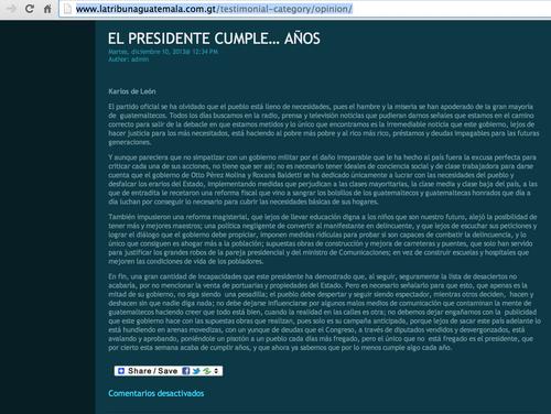 Columna de Karlos de León publicada en el periódico La Tribuna, el 10 de diciembre de 2013.