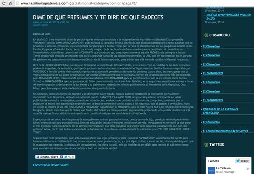 En este artículo Karlos de León es especialmente crítico de la vicepresidenta Roxana Baldetti.